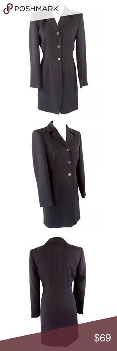 """Garfield & Marks Black Ribbed Long Jacket ‼️‼️ PRICE FIRM ‼️‼️   Garfield & Marks Long Jacket  Size 2P  Retail $440    The perfect jacket that can go from work to a cocktail event!!!!  Lightweight & perfect for year round wear. Triacetate is the perfect fabric for travel! Fully lined. 97% triacetate, 30% polyester.  Armpit to armpit 35""""  Shoulder to shoulder 18""""  Sleeves 23""""  Waist 30""""  Length of garment 34"""" Garfield & Marks Jackets & Coats"""