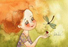 The fallen eyelash - Vika Kirdiy Cute Monsters, Children's Book Illustration, Cute Art, Painting & Drawing, Childrens Books, Illustrators, Watercolor Paintings, Character Design, Artsy