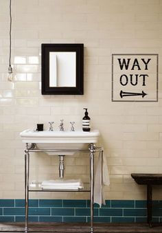 Awesome London Underground inspired bathroom tiles 'way out' Edwardian bathroom Loft Bathroom, Bathroom Basin, Family Bathroom, Bathroom Renos, Small Bathroom, Bathroom Ideas, Bathroom Door Sign, Cloakroom Basin, Bathroom Grey