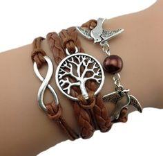 Bracelet Brun Arbre Colmbe Et Perle Amour: Amazon.fr: Bijoux