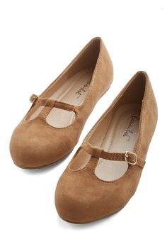 On a Stroll Now Flat in Taupe. Keep your stylish streak rollin by stepping into these taupe-hued flats. #tan #modcloth