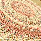 "Round crochet rag rug, mat, pink, white, cottage, country, 34""."
