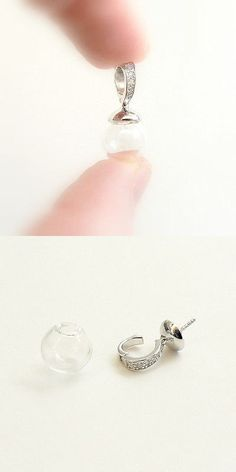 Other Jewelry Design Findings 164356: Glass Ball Pendant W Sterling Silver Loop Caps (.925 Small Vials Bottles Big) -> BUY IT NOW ONLY: $42 on eBay!