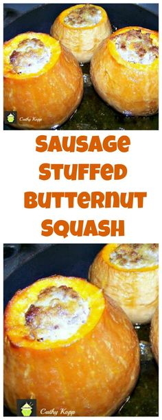This delicious recipe has been generously shared by one of our Lovefoodie supporters, Cathy Kopp Cathy is always cooking delicious Home made dishes, and just loves to cook. Here, Cathy's Sausage Stuffed Butternut Squash Butternut Squash Casserole, Paleo Butternut Squash, Pumpkin Squash, Stuffed Butternut Squash, Stuffed Squash, Baked Squash Recipes, Sausage Recipes, Cooking Recipes, Butter Nut Squash Recipes