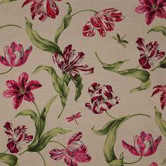 Manuel Canovas, tulips pink and green on beige/grey    http://designs.manuelcanovas.com/?Item======
