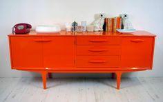 Vintage mid Century modern / 1960's G-Plan sideboard / credenza in retro orange mirror gloss on Etsy, $1,830.24