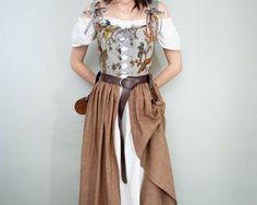 Renaissance Skirt, Renaissance Costume, Pirate Corset, Corset Sewing Pattern, Brown Skirts, Handmade Clothes, Blue Dresses, High Waisted Skirt, Cute Outfits