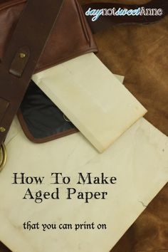 Easy DIY Aged Paper DIY Aged Paper - Easy and printable with no ovens or scorching! Theme Halloween, Halloween Crafts For Kids, Diy Halloween, Kids Crafts, Diy Paper, Paper Crafts, Book Crafts, Craft Font, Origami