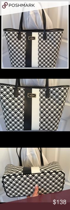 """Kate Spade Penn Place Small Margareta Tote NWT This is a brand new with tags Kate Spade Penn Place Small Margareta Tote.  Black and white.  PVC.  Unlined.   Measures about 11.5 in at bottom (tapering to 17.5 in at top) x 9.5 in H x 5 in W.  Strap drop is about 8"""". kate spade Bags Totes"""