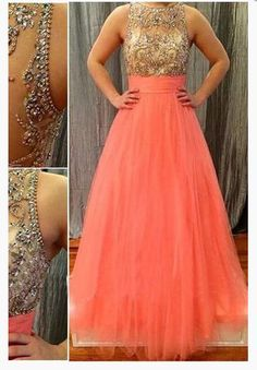 Prom Dresses,Scoop Long Tulle Coral Beads Sheer Back High Neck Sleeveless Evening Dress, 708 sold by Loveprom. Shop more products from Loveprom on Storenvy, the home of independent small businesses all over the world. Prom Dresses 2018, Long Prom Gowns, Prom Dresses For Sale, Tulle Prom Dress, Evening Dresses, Grad Dresses, 15 Dresses, Wedding Dresses, Satin Cocktail Dress