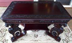 The Best Rj Horner Carved Winged Griffin Mahogany Partners Desk Rare Model Paine #Gothic #RjHorner
