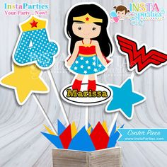 Wonder Woman centerpiece Superhero girl center by InstaParties Wonder Woman Cake, Wonder Woman Birthday, Wonder Woman Party, Girl Birthday, Birthday Ideas, Birthday Parties, Baby Girl Centerpieces, Centerpiece Decorations, Anniversaire Wonder Woman