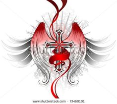 silver gothic cross, decorated with stylized angel wings and a bright red ribbon. by Black moon, via ShutterStock