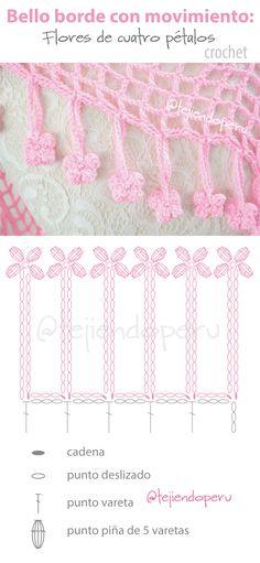 Crochet Borders Beautiful crochet edge with diagram: 4 petal flowers! Crochet Shawl Diagram, Crochet Edging Patterns, Crochet Borders, Crochet Chart, Diy Crochet, Crochet Edgings, Bobble Stitch Crochet, Gilet Crochet, Crochet Fringe