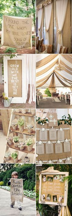 awesome rustic wedding decor ideas I want the Burlap and Tulle Ideas!!!!