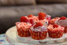 Strawberry and White Chocolate Cupcakes.