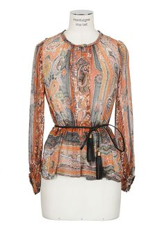 Isabel Marant Top :: Isabel Marant multicolored printed silk-gauze top | Montaigne Market