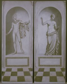 A pair of modern painted panels of Italian design decorated with male and female statues, each panel 78ins x 30ins