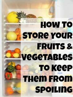 Storing fruit - How To Store Fruits and Vegetables to Keep them From Spoiling Printable Good Food, Yummy Food, Tasty, Fruit Recipes, Healthy Recipes, Water Recipes, Salad Recipes, Storing Fruit, Cooking Tips
