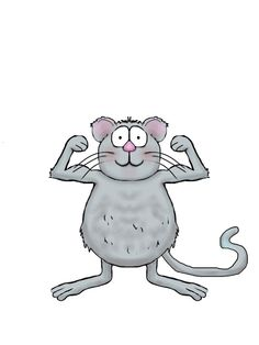 Whimsical mouse flexing his muscles.