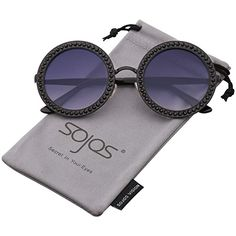 13e9c0258d87 SOJOS Round Oversized Rhinestone Sunglasses for Women Diamond Shades SJ1095  with Black Frame Gradient Grey