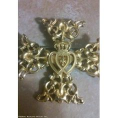 Vintage AccessoryCraft Maltese Cross with Crown & Hearts Pin Brooch