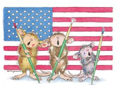 """Happy 4th of July, from the House-Mouse Gang, on the The Daily Squeek® for July 4th, 2014. Click on the image to see it on a bunch of really """"Mice"""" products."""