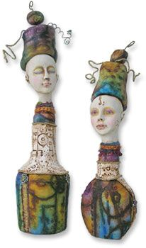 Ancient dolls, modern bottles  combine underglazes (or MS w/frits)  with barnard