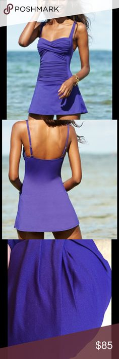 La Blanca Dark Purple Ruched Skirted swimsuit, NWT Swim with a little flare in La Blanca's sweet and chic swim dress featuring a twist front and rushing along the front. This suit is dark purple*. La Blanca Swim One Pieces