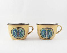 Set of two vintage enamel cups made in Yugoslavia by EMO CELJE