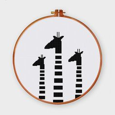 Black White Giraffes cross stitch pattern by ThuHaDesign on Etsy
