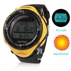Orologio ad energia solare, impermeabile, con sveglia e cronografo - Giallo – EUR € 9.93