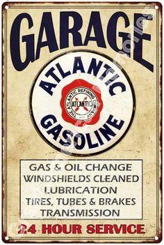Atlantic Gasoline Garage Vintage Reproduction 12 x 18 Metal Sign 2180046