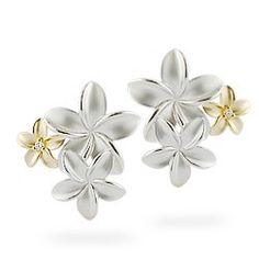 Yellow Gold and Sterling Silver Plumeria Bouquet Earrings with Diamonds