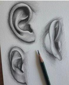 Ear drawing art in 2019 draw, pencil art, art sketches. Art Drawings Sketches Simple, Pencil Art Drawings, Realistic Drawings, Pencil Sketching, Hand Drawings, Anatomy Drawing, Drawing Eyes, Painting & Drawing, Ear Anatomy