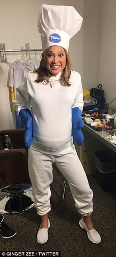 Going all out: The 34-year-old got creative with her costume ideas, dressing as the Pillsb...