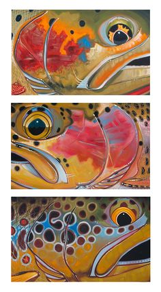 DeYoung Studio Gallery of original fish & flyfishing oil paintings by Derek DeYoung search by species & series - Trout, saltwater, 4 in 1 series, abstract...