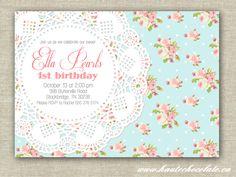 Pearls & Lace Shabby Chic Baby Shower Invitation. DIY Printable Baby Shower or Birthday Party Invitation.. $10.00, via Etsy.