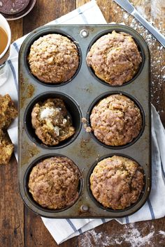 Healthy Cinnamon Sugar Apple Muffins - loaded with apples and topped with a crunchy cinnamon sugar topping. 230 calories. | pinchofyum.com #apple #muffin #recipe #healthy