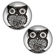Black Deco Owl Unisex Mens Womens Stainless Steel Stud Earrings >>> You can get additional details at the image link.