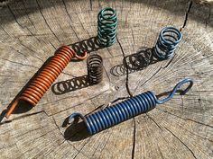 Vintage Auto Round Steel Springs Set of 6 Green Blue by JUNQFUSION, $8.00