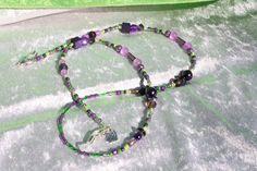 Brillenketten - Brillenkette lila grün Kette Perlen lesen Schmuck - ein Designerstück von trixies-zauberhafte-Welten bei DaWanda
