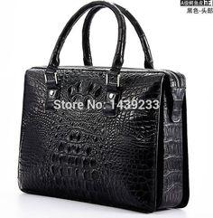 Tailand Import 100% Genuine/Real Crocodile Skin Men Briefcase Laptop Bag, Top Luxury Men Business bag Black, Free Shipping