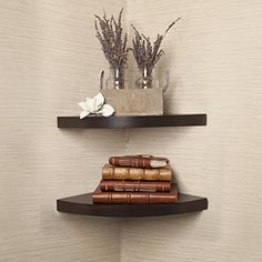 Danya B. Small Floating Wall Mount Rustic Laminate Wood Corner Wall Radial Shelves (Set of - Walnut Large Corner Shelf, Small Wall Shelf, Floating Corner Shelves, Corner Wall Shelves, Wall Mounted Shelves, Wood Shelves, Corner Desk, Kitchen Corner, Diy Wand