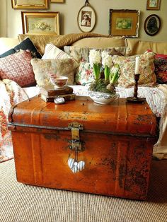 Antique tin trunk ideal coffee table by EmmaAtLHV on Etsy