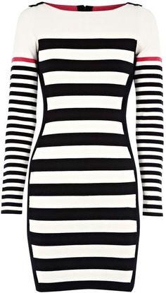 KAREN MILLEN ENGLAND  Block Stripe Knit Dress