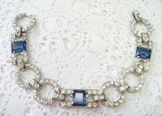 AUTHENTIC Vintage Art Deco Blue and Clear by ElegantiTesori