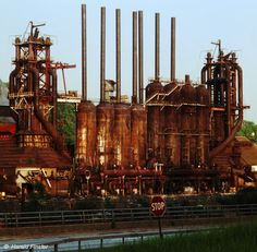 Color photograph of abandoned Duquesne blast furnaces - 1992
