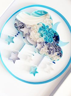 Moon and Stars Quilled Nursery Wall Art New Baby Gift Paper Quilling Cards, Paper Quilling Jewelry, Paper Quilling Patterns, Quilled Paper Art, Paper Crafts Origami, Paper Crafting, Instruções Origami, Origami And Quilling, Quilling Paper Craft