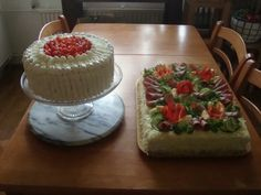 Creamy strawberry cake and a meat sandwich cake. Meat Sandwich, Sandwich Cake, Sandwiches, Strawberry, Desserts, Food, Corned Beef Sandwich, Tailgate Desserts, Deserts